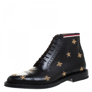 Gucci Black/Gold Embroidered Bee Star Leather Brogue Ankle Boots Size 44