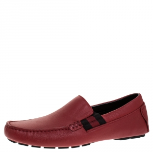 Gucci Red Textured Leather Web Detail New Praga Slip On Loafers Size 40