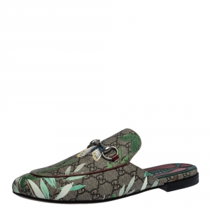 Gucci Multicolor GG Supreme Monogram Coated Canvas Tian Kolbo Princetown Flat Mules Size 42