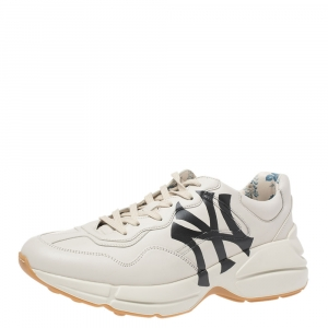 حذاء رياضي غوتشي منخفض من أعلى ريتون جلد كريمي مقاس 42