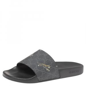 حذاء سلايدز غوتشي فلات تايغر كانفاس جي جي أسود مقاس 44