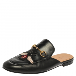 Gucci Black Leather Bee Embroidered Princetown Horsebit Mules Size 44