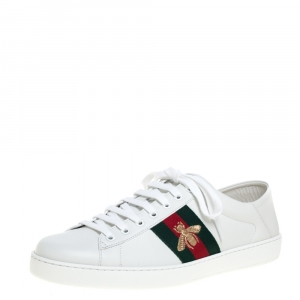 Gucci White Leather Embroidered Bee Ace Low Top Sneakers Size 44.5