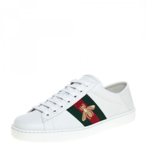 Gucci White Leather Bee Ace Low Top Sneakers Size 39