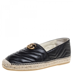 Gucci Black Leather GG Marmont Espadrille Slip On Sandals Size 43.5