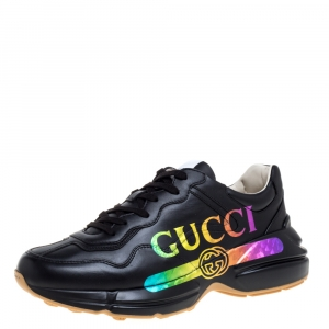 Gucci Black Leather Rhyton Gucci Logo Sneakers Size 42