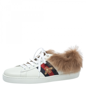 Gucci White Leather and Fur Ace Embroidered Bee Low Top Sneaker Size 44