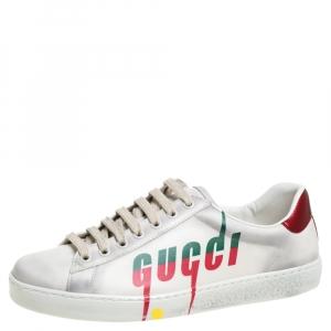حذاء رياضى غوتشى منخفض من أعلى طباعة أيس شفرة جلد ممزق بيج فاتح مقاس 40.5