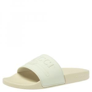 Gucci White Rubber Logo Pursuit Slide Sandals Size 41