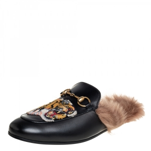 Gucci Black Leather And Fur Tiger Embroidered Princetown Mules Size 40