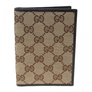 Gucci Beige/Brown GG Canvas and Leather Passport Cover