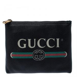 Gucci Black Leather Logo Print Pouch