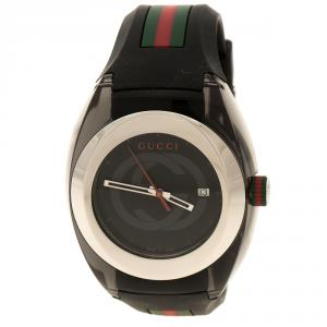 Gucci Black Nylon and Stainless Steel Sync 137.1 Men's Wristwatch 46 mm