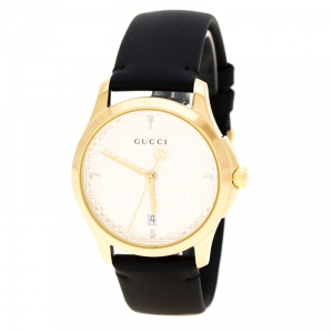 Gucci Silver Gold Plated Stainless Steel G-Timeless 126.4 Women's Wristwatch 38 mm