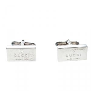 Gucci Trademark Silver Rectangular Cufflinks
