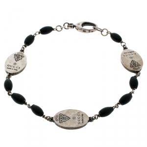 Gucci Crest Black Bead Silver Station Bracelet