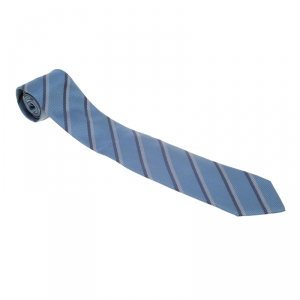 Gucci Blue and Grey Diagonal Striped Textured Silk Jacquard Tie
