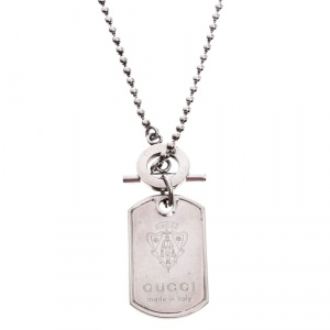 Gucci Crest Engraved Sterling Silver Dog Tag Necklace