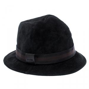 Gucci Black Web Trim Suede Fedora Hat Size S
