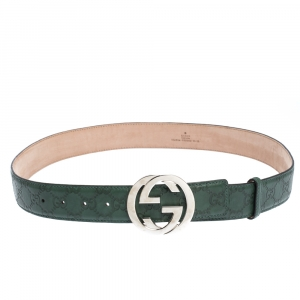 Gucci Green Guccissima Leather Interlocking G Buckle Belt 95CM
