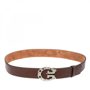 Gucci Brown Leather Horseshoe Buckle Belt 90 CM