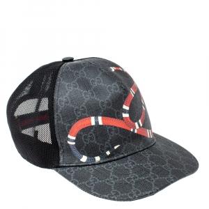 Gucci Grey/Black Kingsnake Print GG Supreme Canvas Baseball Cap L