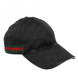 Gucci Black Guccissima Canvas Web Detail Baseball Cap S