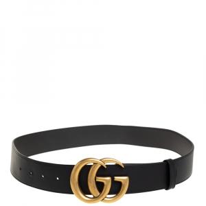 Gucci Black Leather GG Marmont Buckle Belt 85 CM