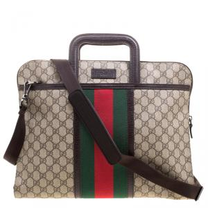 Gucci Beige GG Supreme Canvas Web 2Way Business Briefcase