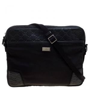 Gucci Black Nylon and Guccissima Leather Messenger Bag