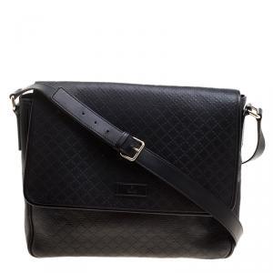 Gucci Black Diamante Leather Hilary Messenger Bag