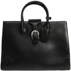 Gucci Black Leather Carry On Buckle Tote