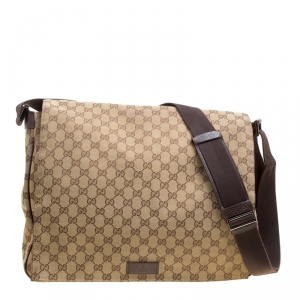 Gucci Beige GG Canvas large Messenger Bag