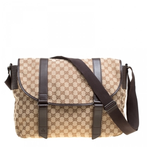 Gucci Beige/Ebony GG Canvas Large Messenger Bag