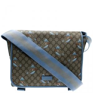 Gucci Beige/Blue GG Supreme Canvas Zoo Birds Messenger Bag