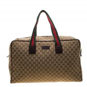 Gucci Beige/Ebony GG Canvas Carryall Duffle Bag