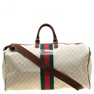 Gucci Light Beige GG Supreme Canvas Web Duffle Bag