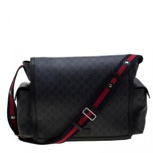 Gucci Black GG Supreme Canvas Web Diaper Bag