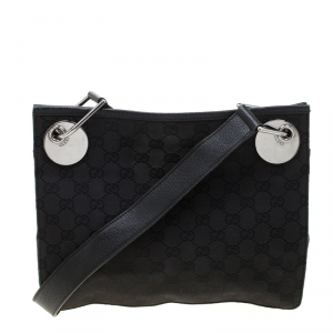 Gucci Black GG Canvas and Leather Messenger Bag