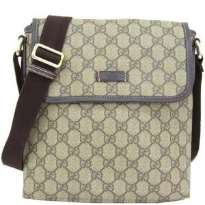 Gucci Navy/Beige GG Coated Canvas Small Messenger Bag
