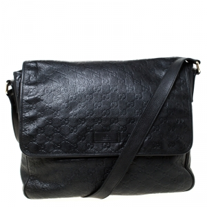 Gucci Black Guccissima Leather Messenger Bag