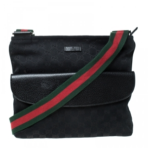 Gucci Black GG Canvas Web Messenger Bag