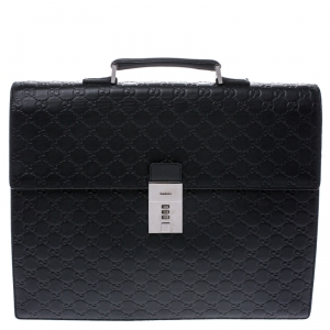 Gucci Black Guccissima Leather Briefcase