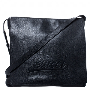 Gucci Black Leather Flap Messenger Bag