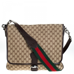 Gucci Beige/Brown GG Canvas and Leather Web Flap Messenger Bag
