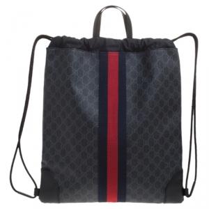 Gucci Charcoal Soft GG Supreme Canvas Drawstring Backpack