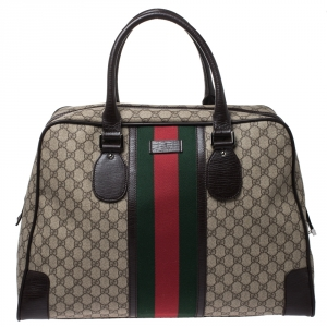 Gucci Brown GG Supreme Canvas Web Weekender Bag