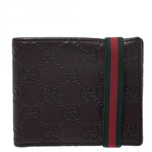 Gucci Dark Brown Guccissima Leather Web Bifold Wallet