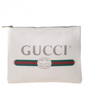 Gucci White Leather Logo Print Zip Pouch