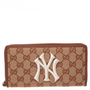 Gucci Brown GG Canvas NY Yankees Patch Zip Around Wallet